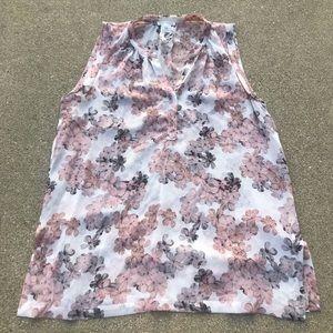 Club Monaco floral silk semi sheer blouse